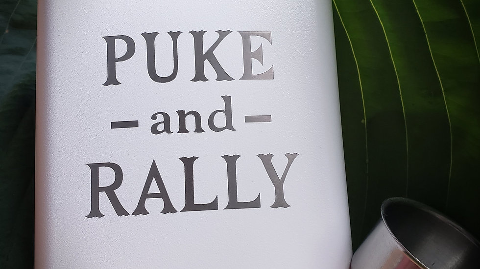 Puke and Rally FLASK- Leather or Powder coat finish
