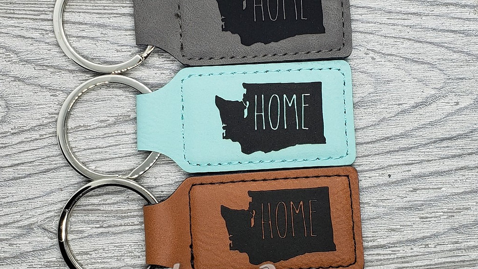 WA Home- Leather Keychain