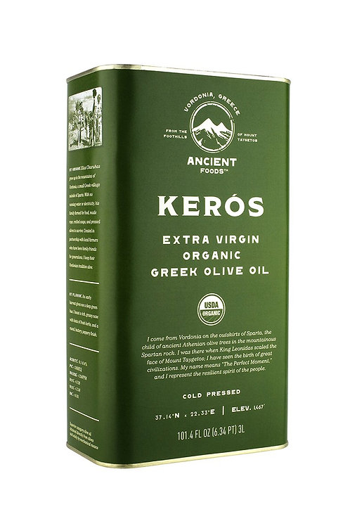 Kenos Organic Extra Virgin Greek Olive Oil, 3L Tin