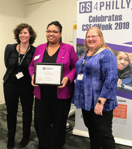 Jessica Thomas, Runner Up for the Sustained Impact Award, New Foundations Charter School with Naomi Housman, CS4Philly, and Tammy Pirmann, Drexel University