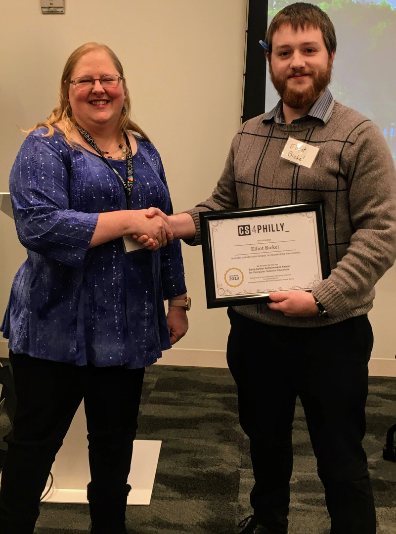 Elliott Bickel, Runner-Up for the Early Career Achievement Award, Carver High School of Engineering and Science, and Tammy Pirmann, Drexel University