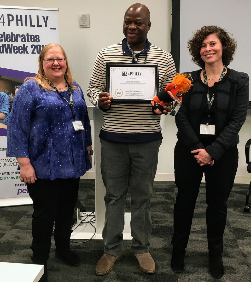 Kadima Bukasa, Winner of the Grit Award, Austin Meehan Middle School, with Tammy Pirmann, Drexel University, and Naomi Housman, CS4Philly