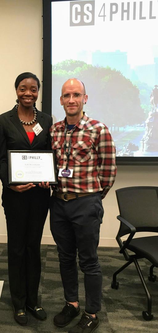Erik Weissmann, Winner of the Early Career Achievement Award and Vice Principal Charmelia Bond, Academy at Palumbo