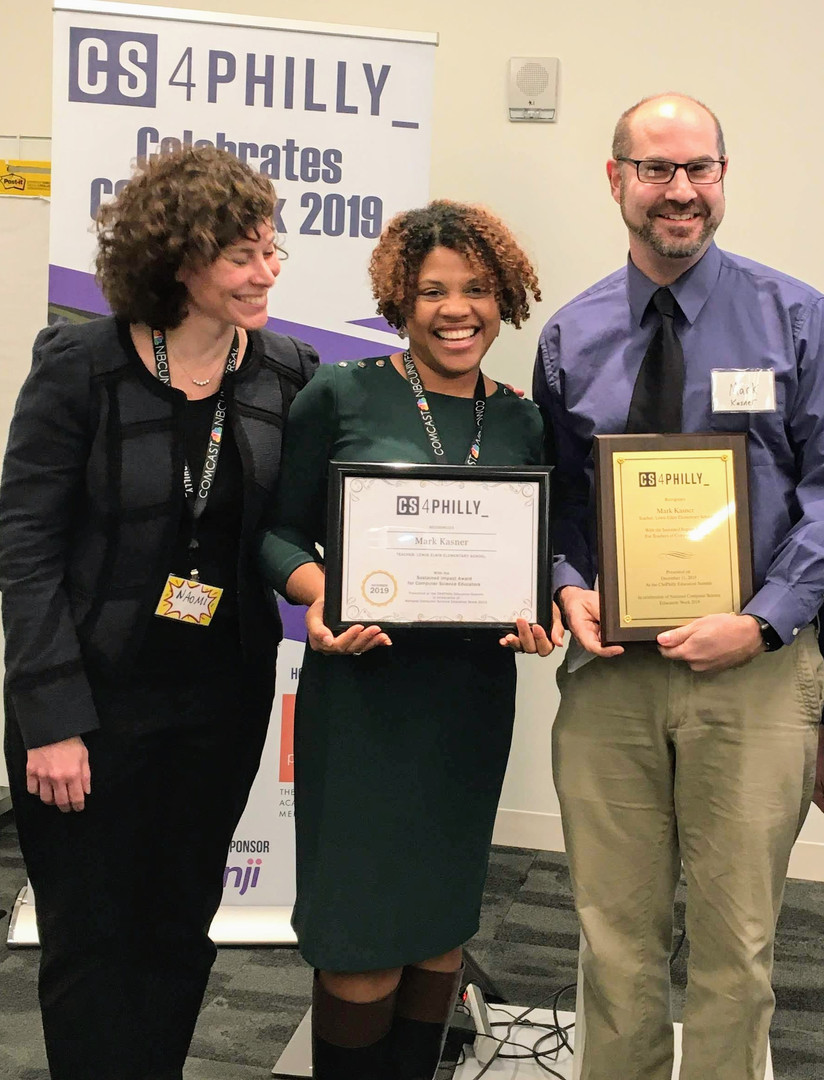 Mark Kasner, Winner of the Sustained Impact Award, and Principal Charlotte Maddox, Lewis Elkin Elementary School, with Naomi Housman, CS4Philly