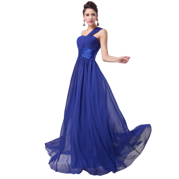 One Shoulder Long Royal Blue Evening Dress