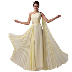 New Yellow One shoulder Evening Dress Formal Gowns Long Chiffon Prom Party Dress .jpg