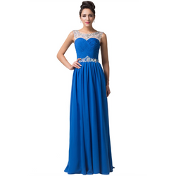 Long Blue Evening Dresses Party Dress 2016 Beaded Crystal Evening Gown