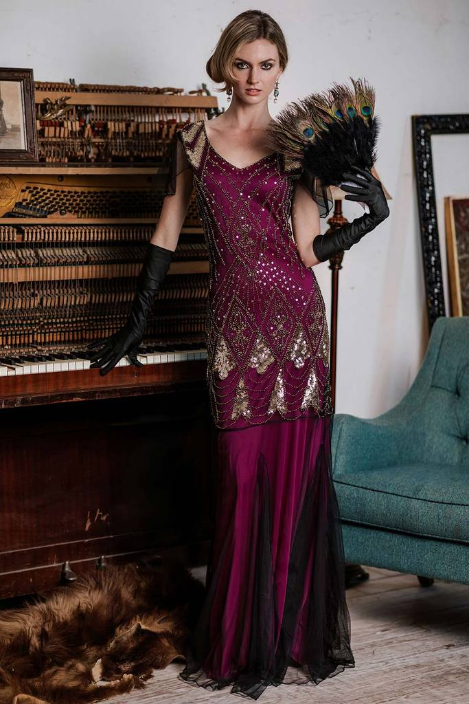 1920s Rose Red Sequined Maxi Flapper Dre