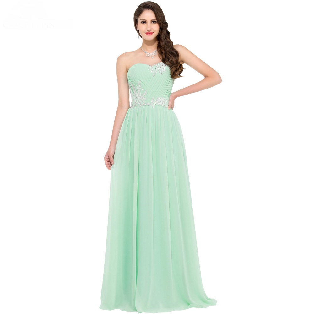 Strapless Mint Green Long Evening Dress 2016