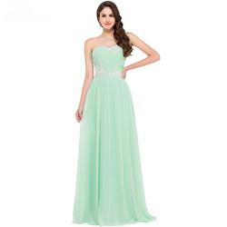Strapless Mint Green Long Evening Dress 2016