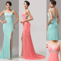 Coral Turquoise Gown front and back