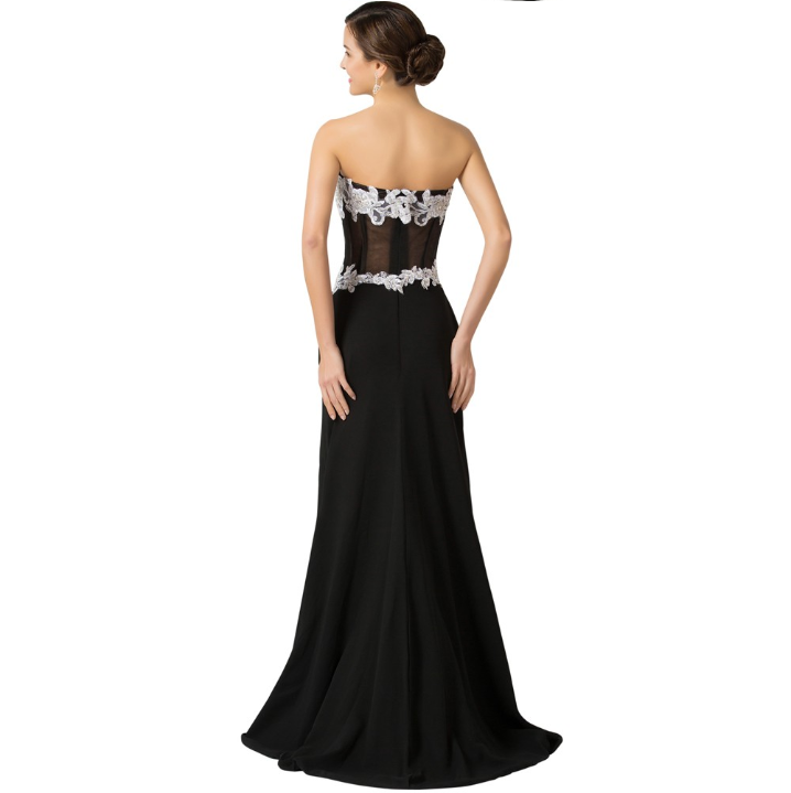 Sexy Long Evening Dress black back