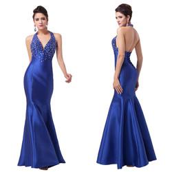 Royal Blue Satin Evening Dress 2016