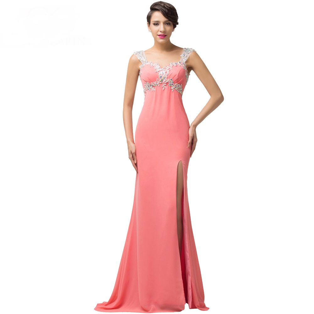 Coral Sweetheart Long Evening Dress