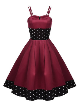 1950s Wine Red Straps Dots Swing Dress