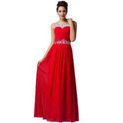 Long Red Evening Dresses Party Dress 2016 Beaded Crystal Evening Gown