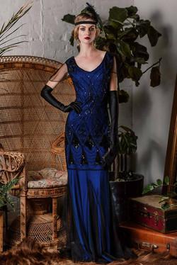1920s sequined maxi flapper dress