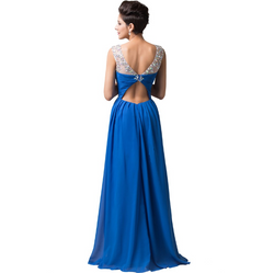 Long Blue Evening Dresses Party Dress 2016 Beaded Crystal Evening Gown back
