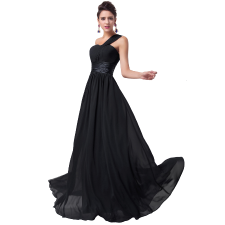 One Shoulder Long Black Evening Dress