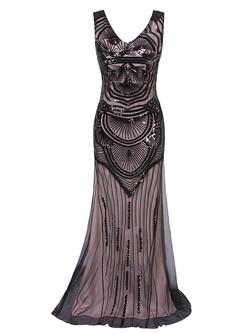 1920s sequin mermaid maxi dress