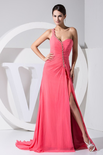 2016 One-shoulder Open Leg Pink Chiffon Long Evening Dress