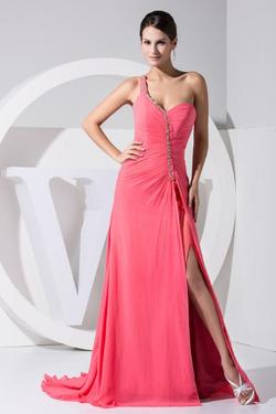 2016 One-shoulder Open Leg Pink Chiffon Long Evening Dress