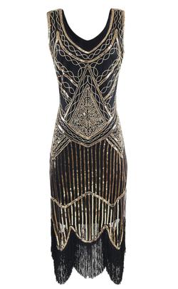 Gold 1920s sleevless sequins fringe trim