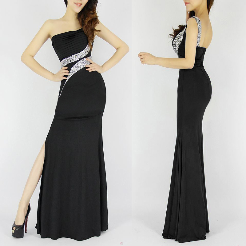 One-Shoulder-Long-Mermaid-Evening-Dress-Backless-Black-Evening-Gown