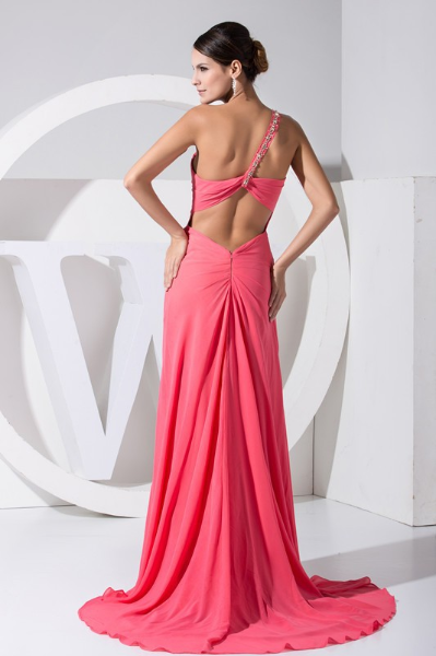 2016 One-shoulder Open Leg Pink Chiffon Long Evening Dress back