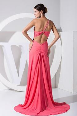 2016 One-shoulder Open Leg Pink Chiffon Long Evening Dress back