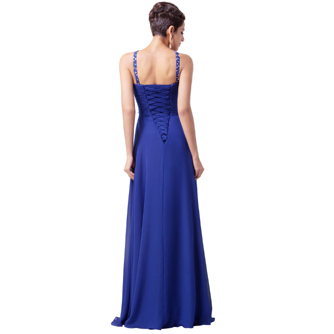 Long Royal Blue Long Evening Dress 2016 Floor Length Slit Chiffon Beaded Evening Party Gown back