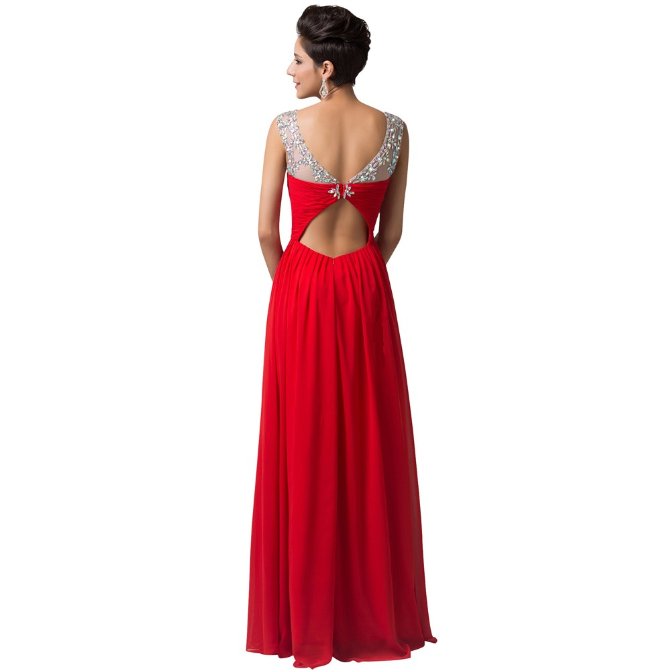Long Red Evening Dresses Party Dress 2016 Beaded Crystal Evening Gown back