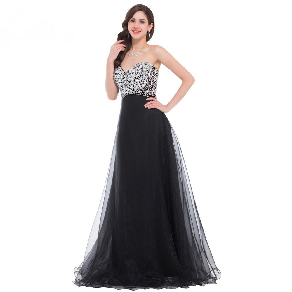 Luxury Beaded Long Black Evening Dress 2016