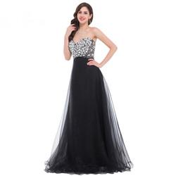 Luxury Beaded Long Black Evening Dress 2016
