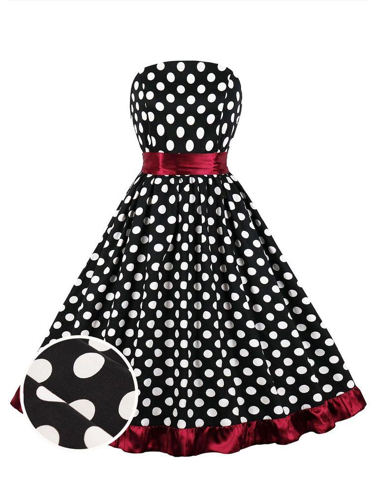1950s Black Dot Ruffles Swing Dress