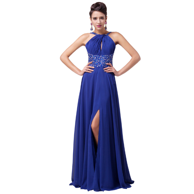 Long Royal Blue Long Evening Dress 2016 Floor Length Slit Chiffon Beaded Evening Party Gown