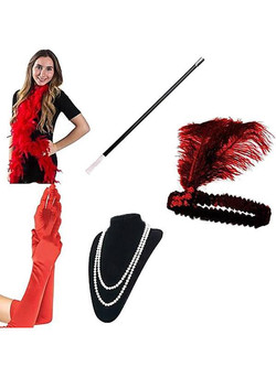 Red 1920s Flapper Accessory Set