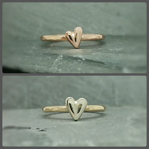 Pure Sweetheart - stacking ring 9ct 9k gold heart ring, promise ring, handmade,