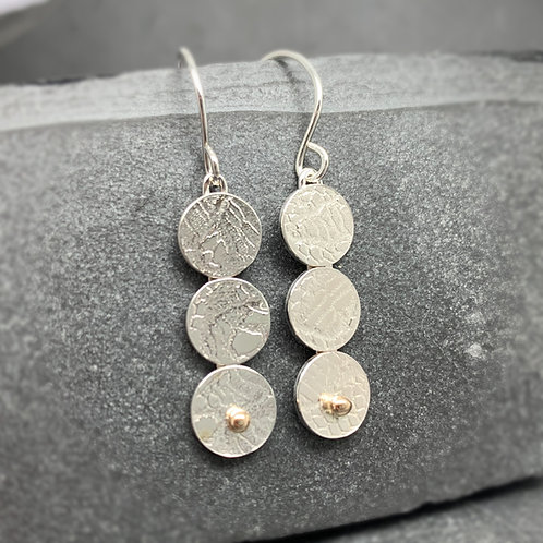 Lace Circles - contemporary sterling and gold dangles