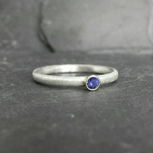 Little Blue - 9ct 9k gold bezel set sapphire ring, silver skinny band UK