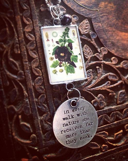 Black Hollyhock Botanical Print Necklace