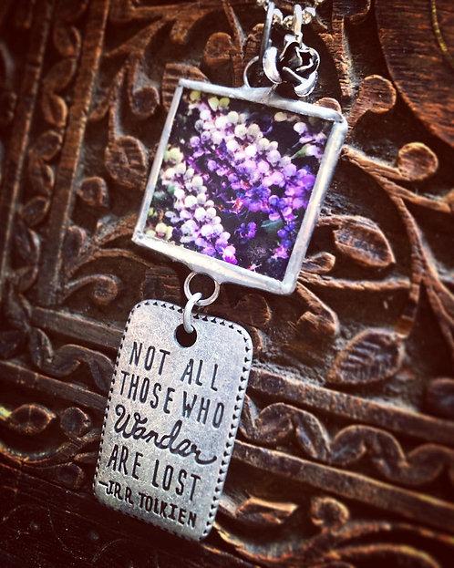 Purple Flowers: Not All Who Wander Necklace