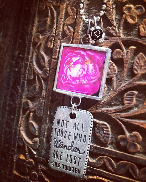 Peony: Not All Who Wander Necklace