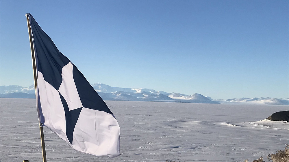 True South flying at McMurdo Station, Antarctica with the Ross Ice Shelf and Royal Society Range in view.