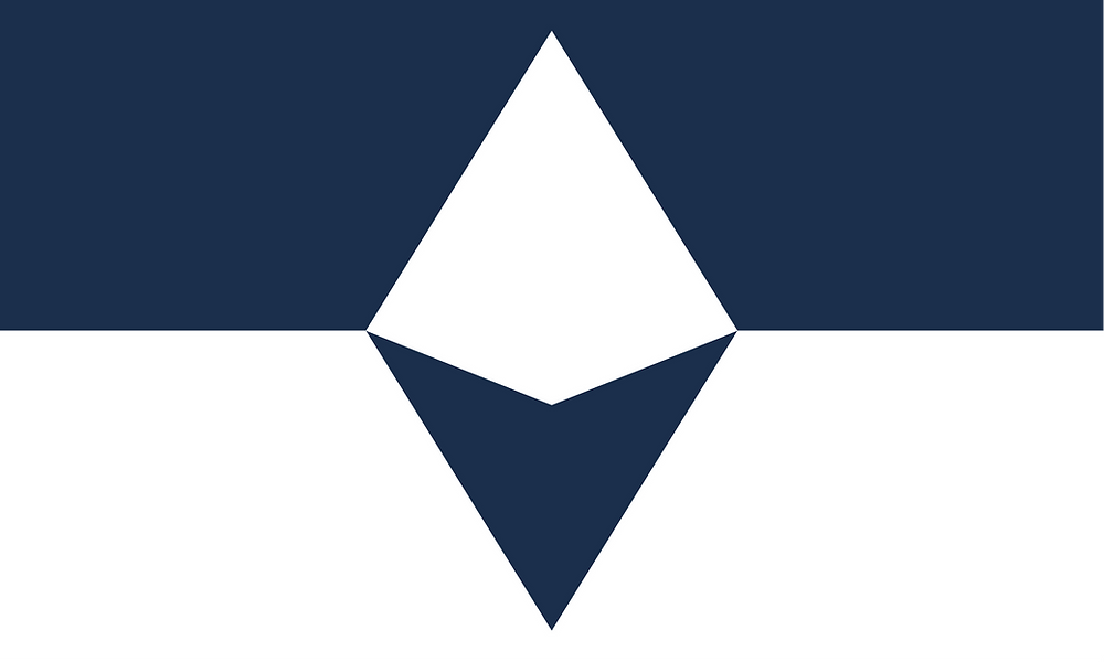 A 3 by 5 image of a flag. The top half of the flag is a navy stripe with a white peak in its center. The bottom half is a white stripe with a navy compass arrow in its center. The peak and compass arrow connect to form a diamond.