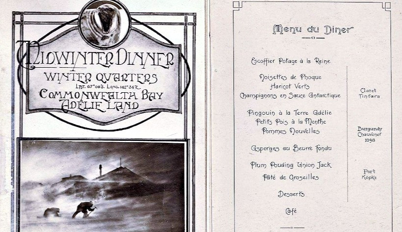 """A photocopy of a menu titled """"Midwinter Dinner: Winter Quarters, Commonwealth Bay, Adelie Land."""""""