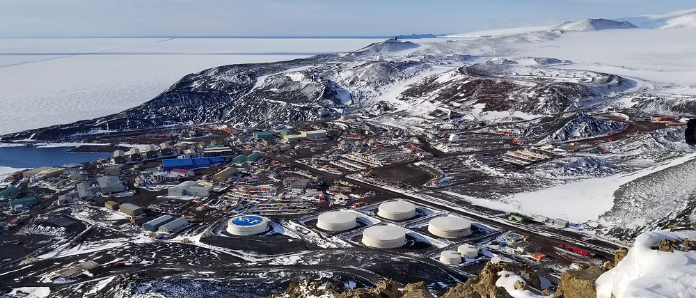 The view of McMurdo Station from Observation Hill showing the roads connecting the buildings