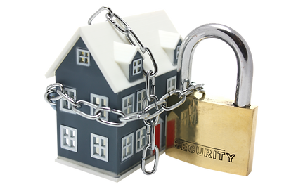 Graphic of a home with a lock and chain around it.