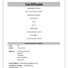 ICO Data Protection Certificate