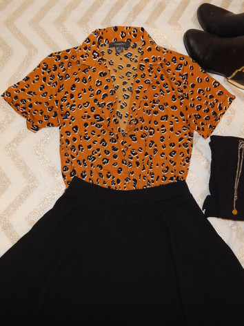 skirt: target  cheeta romper: primark  tights/necklace: primark  boots: primark